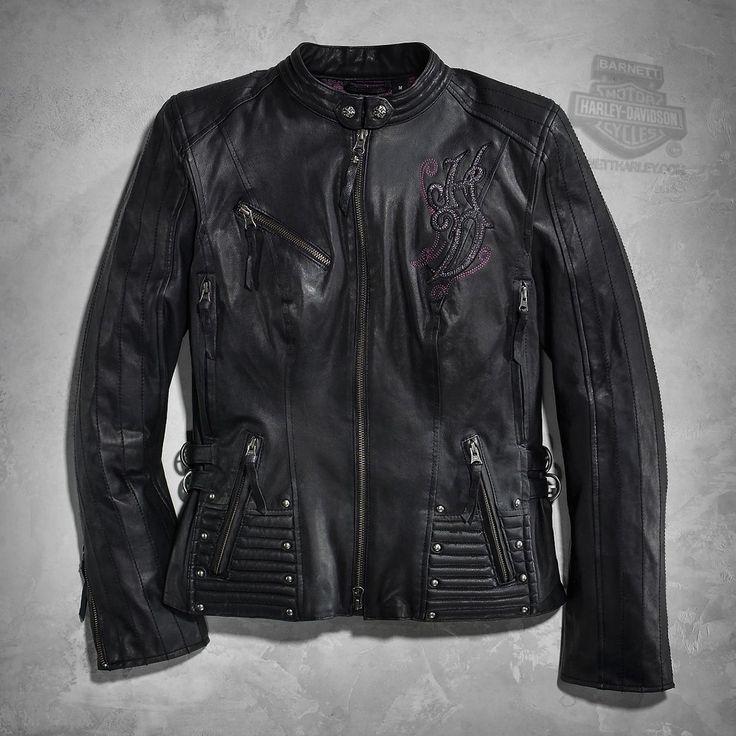 Harley-Davidson® | 97099-16VW | Harley-Davidson® Womens Avangelina Stud Embellished 3-in-1 Black Leather Jacket