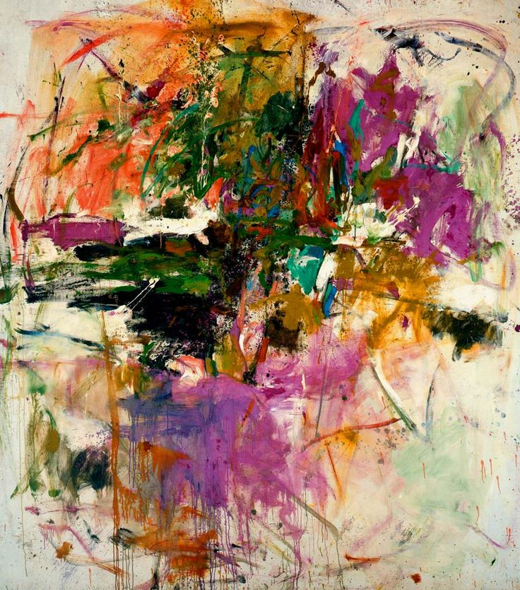 Joan Mitchell is a modern day artist that create a lot of colorful pieces, her work is very messy and very acrylic based in materials.