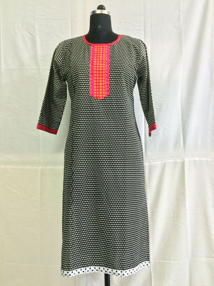Natural look of half sleeves cotton kurti