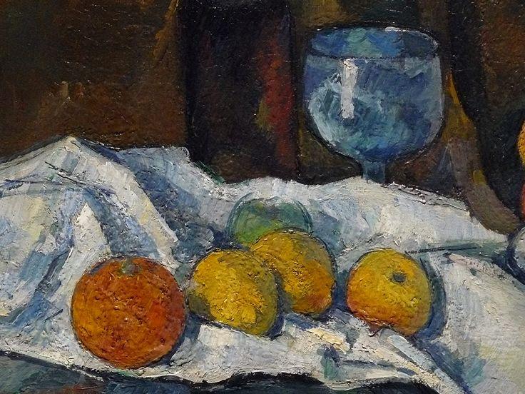 """CEZANNE,1877-79 - Le Buffet - Still Life, The Buffet (Budapest) - Detail -f  -  TAGS : details détail détails detalles painting paintings peinturepaintings """"Paul Cézanne"""" """"Paul Cezanne"""" Cezanne Cézanne """"Still life"""" """"Nature morte"""" Budapest Hongrie Hungary """"Nature morte"""" citrons citron lemon lemons orange oranges nappe """"nappe blanche"""" """"white cloth"""" chiffon cloth bleu blue tasse cup sucrier """"sugar bowl"""" buffet knife fruit food pomme apple apples glass verre dessert biscuits"""