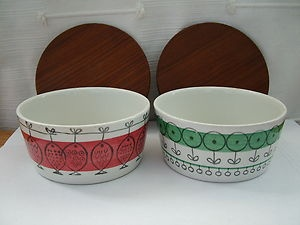 Scandinavian Upsala Ekeby Studio Art Pottery Dish & Lids