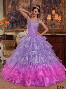 Lilac and Pink Ball Gown Halter Organza Beading Quinceanera Dress in Concord