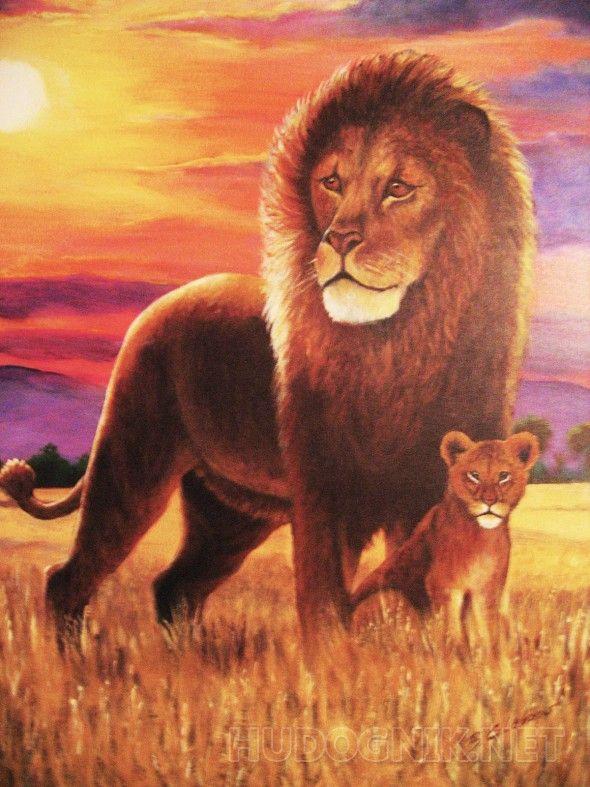 Отец и сын Лев и львенок на фоне африканского заката.