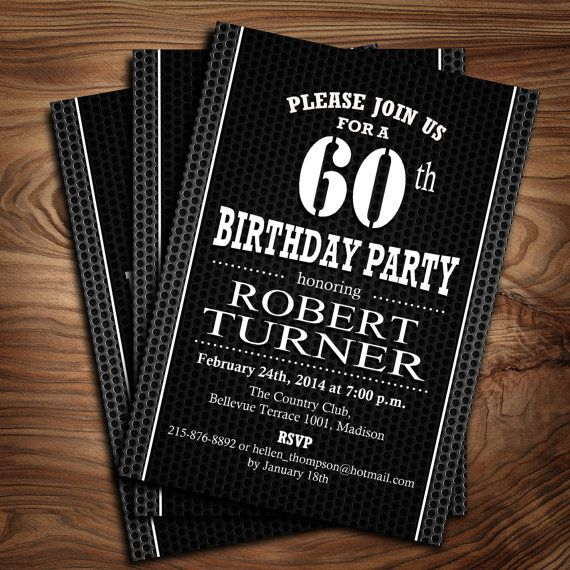 60th Birthday Invitation for Men / DIY Printable by PartyInkStudio