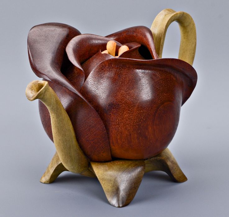 Flower Bud Teapot - Mahogany Petal, Poplar Leaves, Spout and Handle Satinwood Stamen - Created by artists Denise Nielsen and George Worthington