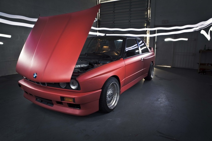 Matte red wrap highlights every crease, creating the ideal contrast to show off the E30 M3's lean, muscular wide body. #bmw  #m3 #widebody
