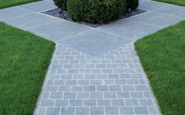 tuin keramische tegels met klinkers grijs | Chinees Blauw natuursteen tegels met getrommelde kanten voor oprit en ...