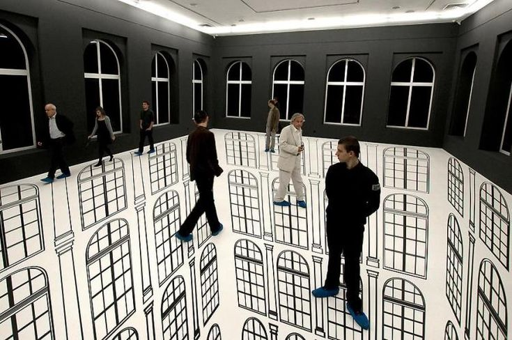 Brazilian artist Regina Silveira creates incredible illusions that play with our senses and messes with our minds. In Lodz, Polland, she created an installation called Abyssal (Depth) where she incorporated the gallery's architecture, particularly its windows, to show a never-ending abyss one could actually walk on.    (via muggleotter)