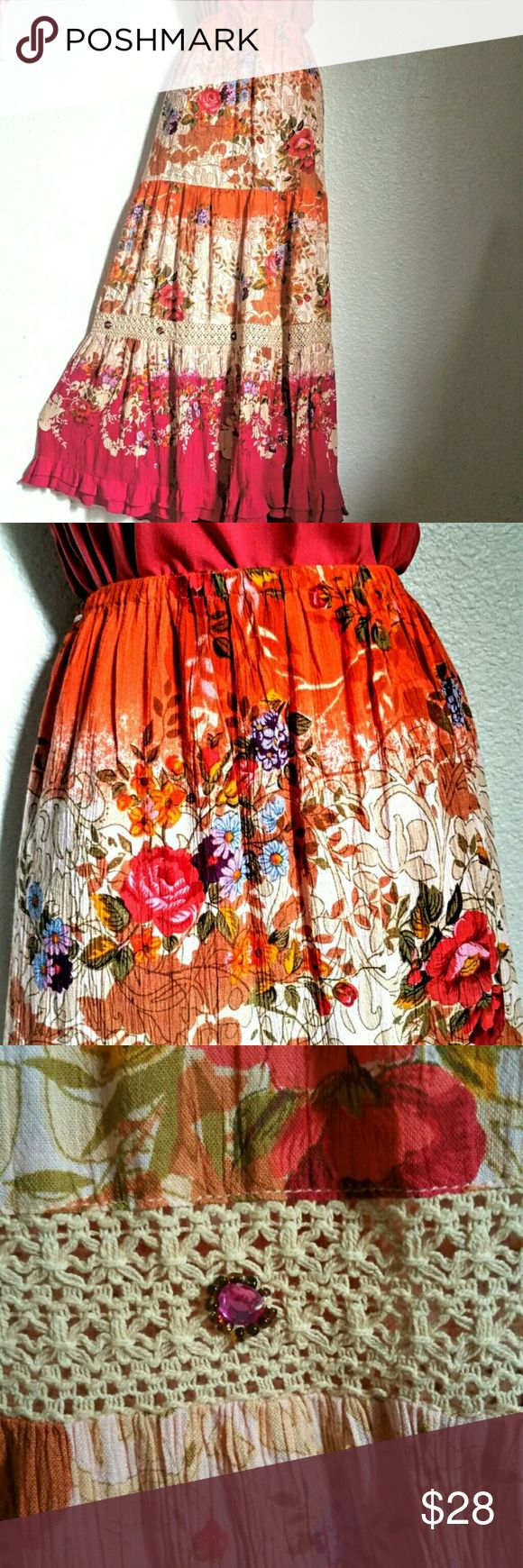 """🌻Forbidden Crinkle Boho Maxi Skirt Rich, vibrant, tiered maxi skirt is perfect for summer or festival wear.  Previously worn lightly. Little """"jewels"""" on the crocheted lace trim. A little double ruffle at the hem. Elastic waist. Pink, orange, peach, tan, olive green, violet, and purple.  Forbidden, L.A., size XL, 16"""" across waist + stretch, 41"""" length. Forbidden Skirts Maxi"""