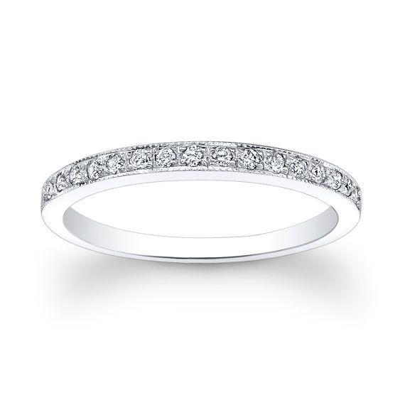 Ladies thin platinum diamond pave wedding band 0.15 by EVSdesign, $990.00