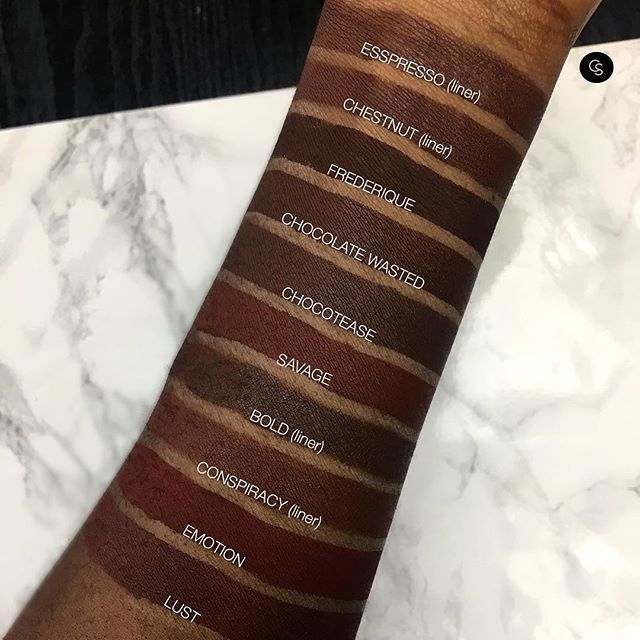 What are your fave Chocolate Brown nudes? Heres a few we can't live without! DO WE LOVE? See below for deets! #CocoaSwatches  From T to B:  shop missa lip liner in esspresso  mac cosmetics lip liner in chestnut   lashes by lena Liquid lipstick in FREDERIQUE   doseofcolors Liquid lippie in Chocolate Wasted   maccosmetics Liquid lipstick in CHOCOTEASE   the lip bar Liquid lippie in Savage  zaron cosmetics lip liner in Bold   urban decay cosmetics lip liner in Co