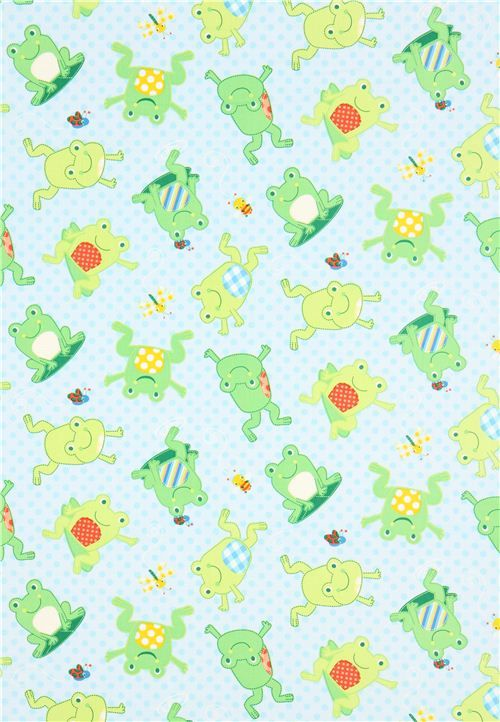blue dotted frog animal fabric Timeless Treasures