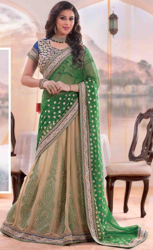 USD 69.23 Green Georgette Wedding Lehenga Saree 47241