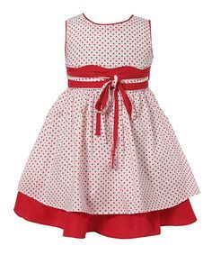 Richie House White & Red Layered A-Line Dress - Infant & Toddler | zulily