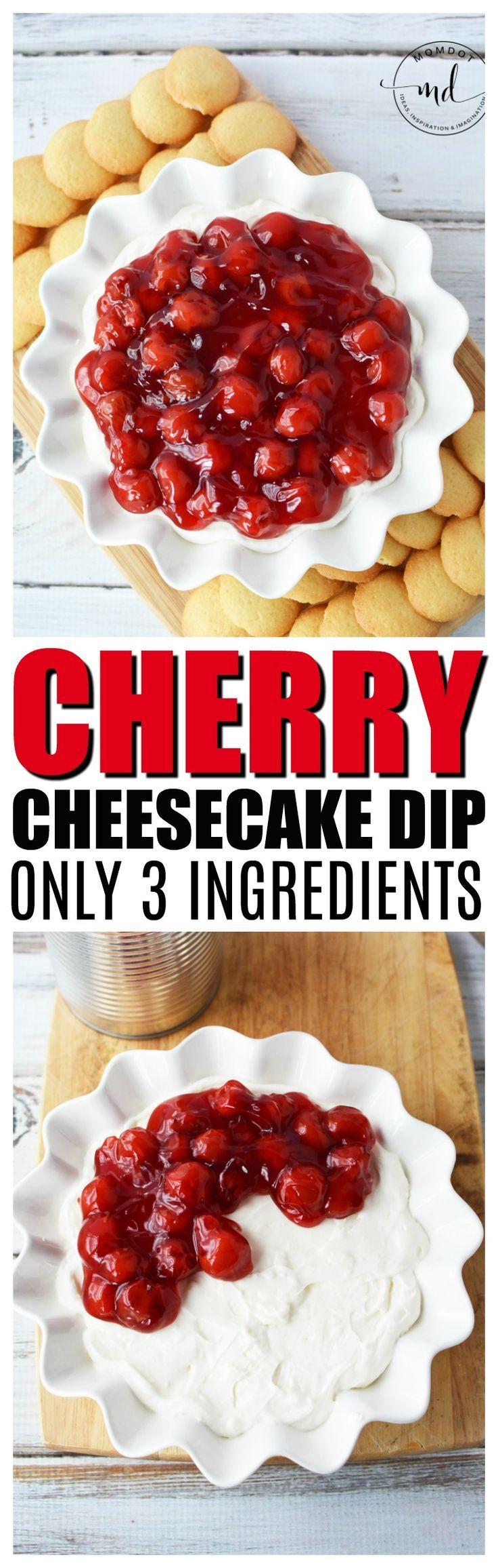 Cherry Cheesecake Dip, a no bake 3 ingredient recipe that will delight your tongue! Get printable recipe and instructions here #dessert