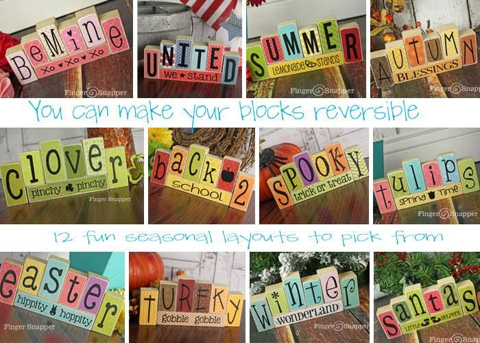 Reversible blocks for holiday decor. 12 layout ideas. I would also add Happy Birthday (with a balloon or cupcake on the extra block). ... Haha. Did you notice turkey is spelled wrong?