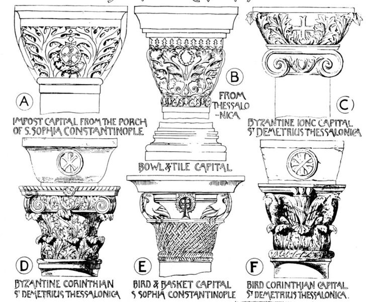 Byzantine column capitals carving or decoration designs. Byzantine capitals sometimes took a form derived from the Roman Ionic or Corinthian types.