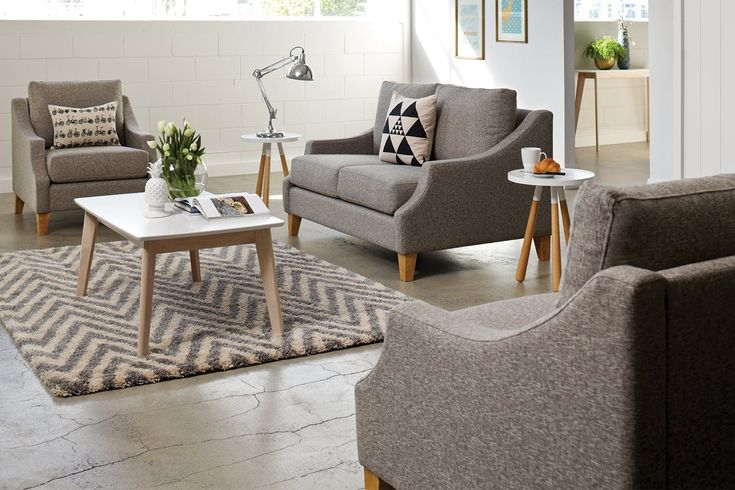 If you want a look that offers something a little different, you can't go past the Bree3 Piece Fabric Lounge Suite. The unique designwith its lovelycurved arms and wooden legs brings a stylish look to your lounge.