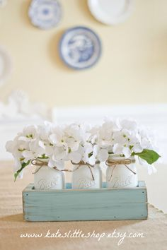 Rustic Planter Box with 3 Vintage Style Mason Jars. Vintage Blue Rustic Home Decor Table Centerpiece. Whitewash Stained Wedding Decor. Blue. by KatesLittleShop on Etsy www.etsy.com/...