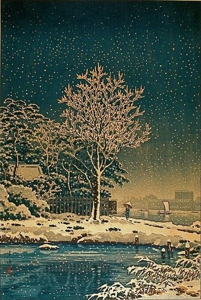 Tsuchiya Koitsu, Suijin woods in the snow along the Sumida River, Tokyo