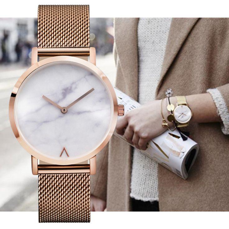 Barato Eutour Genebra Mulher Moda Retro relógio de Quartzo de Aço Inoxidável Minimalista Mármore Quente Relógios Relógio de Pulso de Moda Popular, Compro Qualidade Relógios das mulheres diretamente de fornecedores da China:      [xlmodel]-[foto]-[0000]