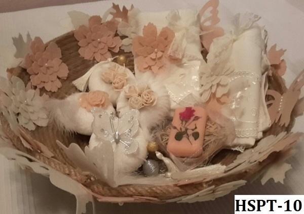 Hediyelik Banyo Sepetleri (HSPT-10 Somon/Beyaz/Krem)