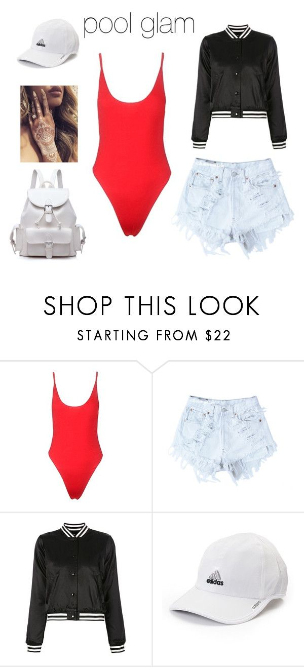 """pool day outfit"" by sweetswagger ❤ liked on Polyvore featuring Levi's, R13 and adidas"