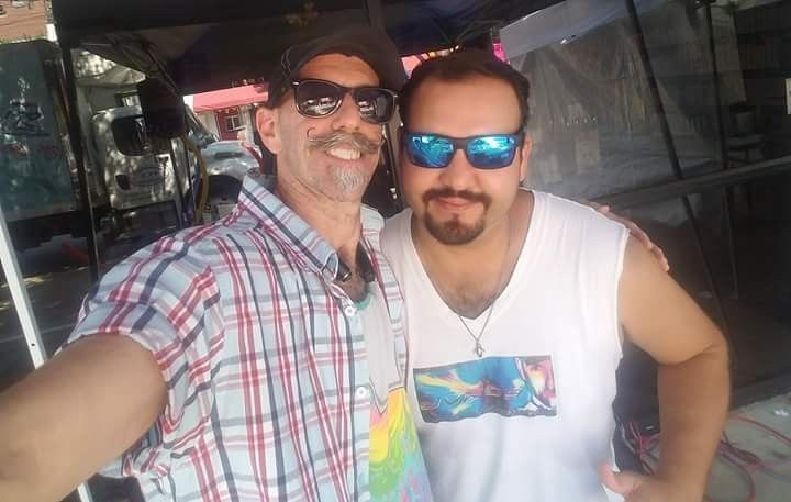 Gay Pride Weekend 2017  -- Dallas, Texas  (Oak Lawn)  Craig Sullivan is to the left, and his partner is to the right,  Christian Treviño Guardado.  I  have been Facebook Friends with Craig since June of 2011.  I only got to meet him last year at the Gay Pride Parade 2016.  Since Christian got with Craig, I became Facebook Friends with him.  I was ecstatic about meeting another one of my Facebook Friends.  And Christian is as nice as he is handsome.