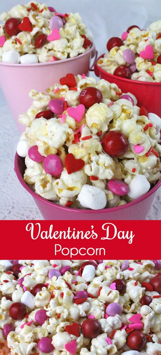 Valentines Day Popcorn - a fun Valentines Day treat. Sweet salty crunchy and delicious and it is so easy to make. It would be a great Valentines Day Party Food or a February family night dessert! Follow us for more fun Valentines Day Food ideas.