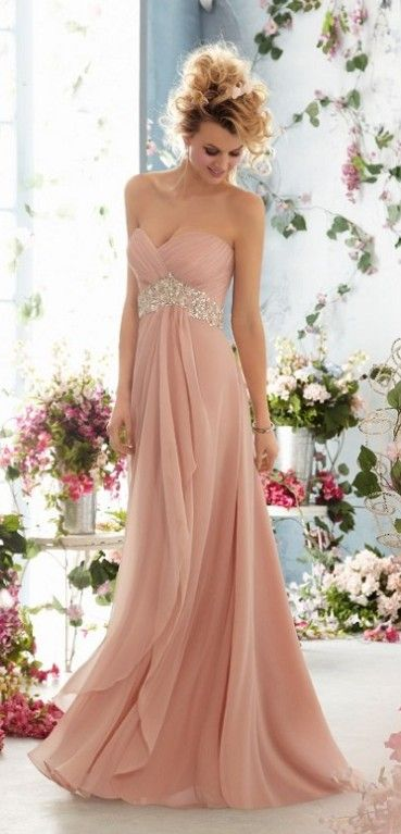 Dusty pink bridesmaids gown. Stunning.