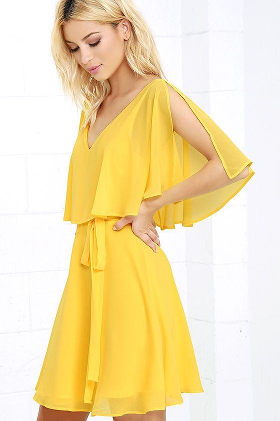 Fun Yellow Dress - Short Sleeve Dress - Skater Dress - $57.00