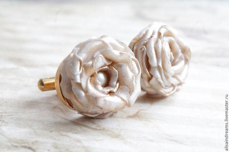 """Купить Свадебные запонки """"Нежность"""" - золотой, запонки, цветы, цветок, перламутр, золото, необычное украшение"""