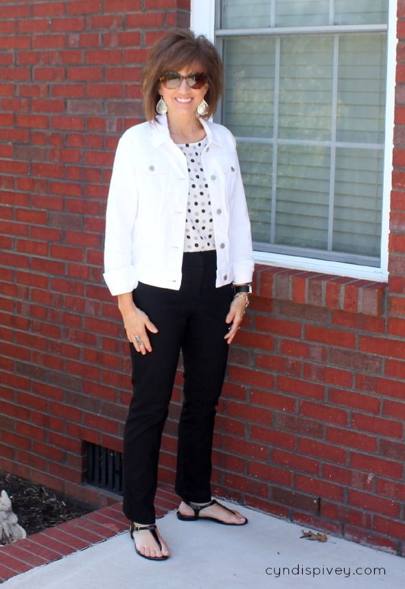 What I Wore-Fashion For Women Over 40.  Like the pic of white pants and chambray top.