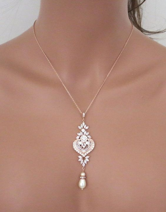 Rose Gold Bridal necklace Rose Gold pendant necklace Bridal jewelry Rose Gold Bridesmaid necklace Wedding necklace Pearl necklace EMMA