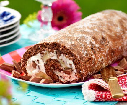 Barnsligt god med både banan och choklad. Boels favoritrulle ca 10 bitar 3 ägg 1½ dl strösocker ¾ dl potatismjöl 3 msk kakao 1 tsk bakpulver Fyllning 100 g mjölkchoklad...
