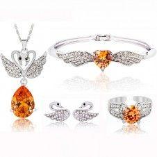 Set bijuterii placate cu Platina si cristale Cubic Zirconia culoare Citrin