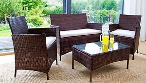 Rattan Garden Furniture Patio Set 1 Sofa 2 Chairs 1 Glass Coffee Table | eBay