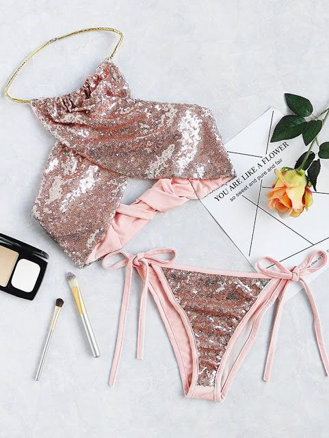 SEQUIN HALTER BIKINI #howtochic #ootd #outfit