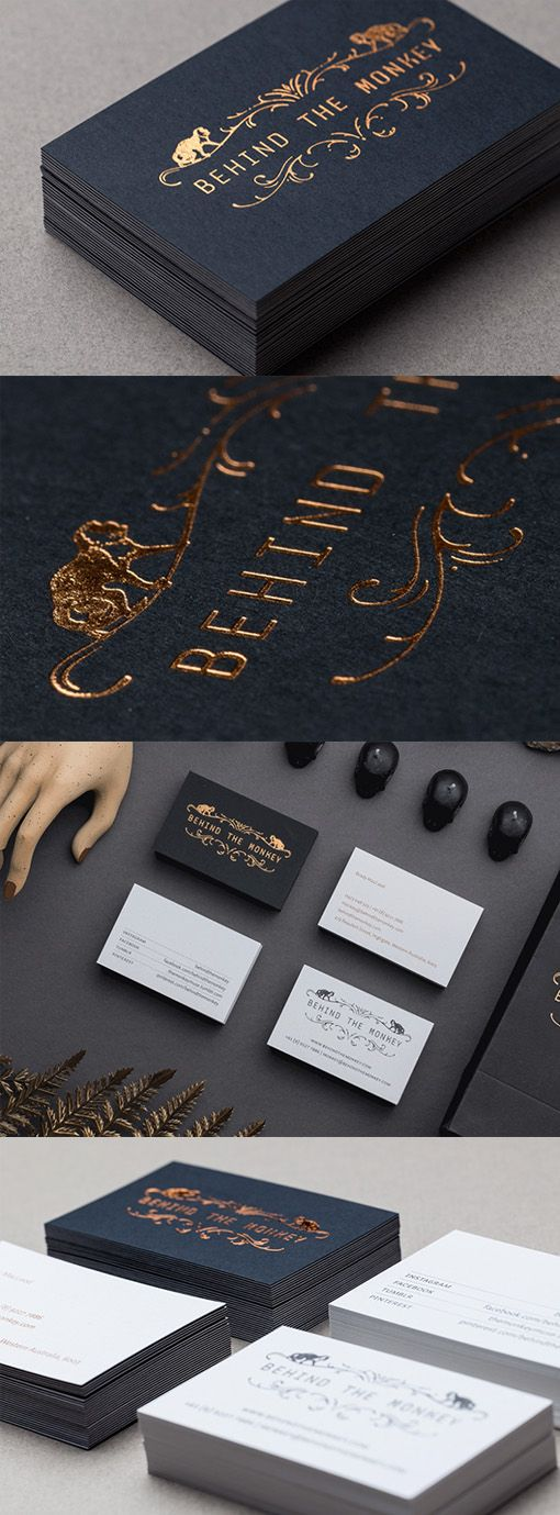 569 best creative business cards images on pinterest business card luxurious gold foil on black business card for a jewellery boutique reheart Images