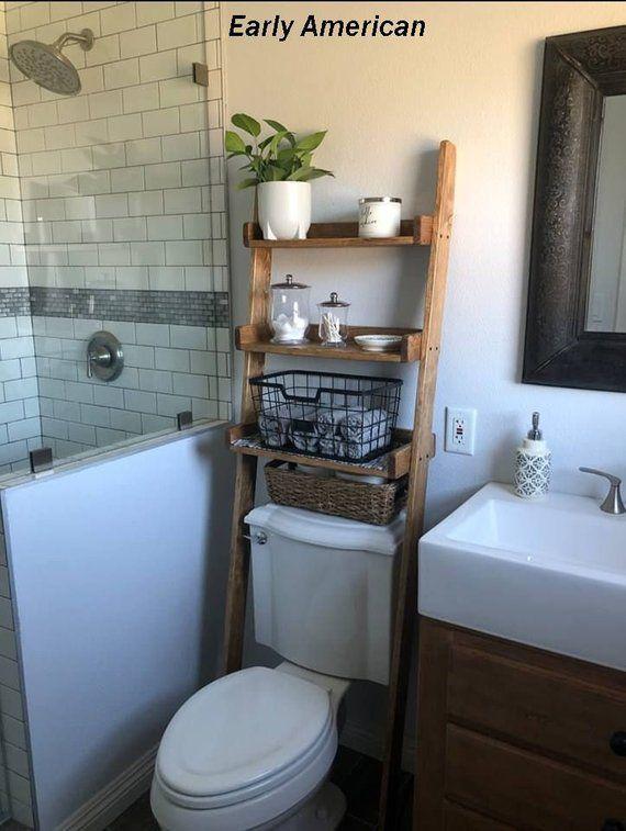 Over The Toilet Leaning Ladder Shelf Made To Order Decor Etsy Bathroom Vanity Decor Bathroom Space Saver Small Bathroom Decor