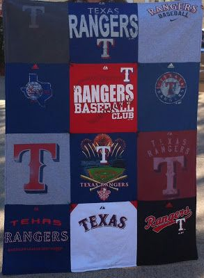 Texas Rangers T-shirt Quilt...I soooooo have thought of doing this with Alex's shirts as he grows out of them