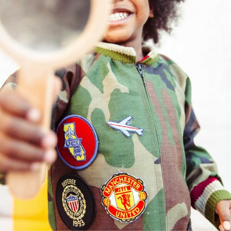 Camouflage Jumpsuit with patches Unisex Toddler/Kids by King and Lola
