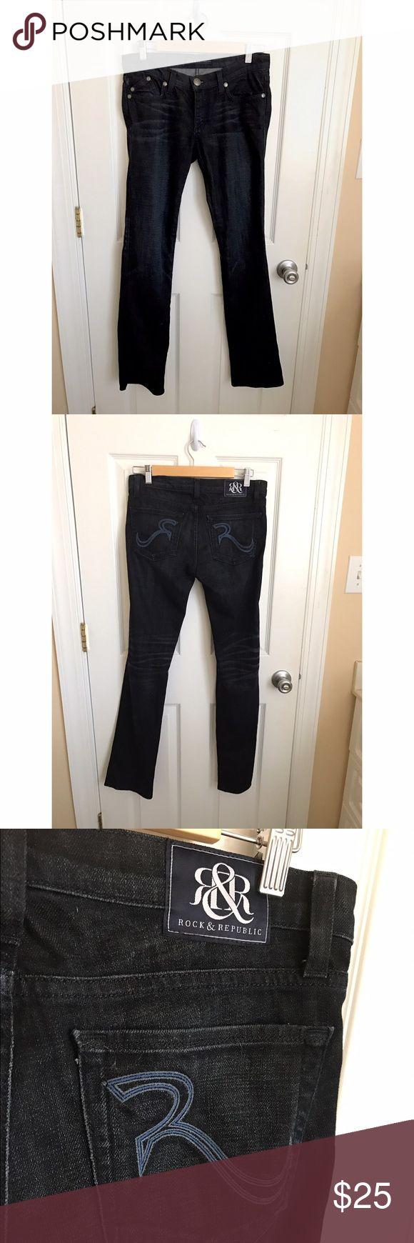 "NWOT dark jeans Straight leg boot cut designer rock & republic. Brand new never been worn. 32"" inseam Rock & Republic Jeans"