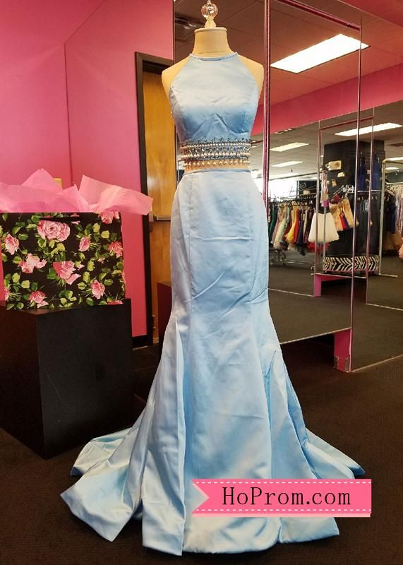 867938bd64 Mermaid Halter Two Piece Light Blue Prom Dress Pageant Gown Evening Dress  Pearls Beads