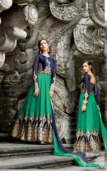Bewitching Emerald Designer Anarkali Suit