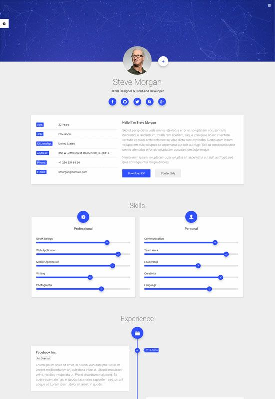 mCard - Personal Business Card Responsive CV Material Bootstrap Html ...