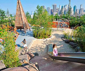 Pier 6 playgrounds in Brooklyn, NY: With a five-star view of Manhattan and five distinct landscaped playgrounds, Pier 6 is a destination play space for locals and tourists alike. Kids can sample two-story slides and giant climbers; test out 10 swing sets (including ropes for the Tarzan-minded); dig in a 6,000-square-foot sandbox; and explore a marsh garden, then cool off with water-jet play in a boulder-strewn grotto (shoes recommended).