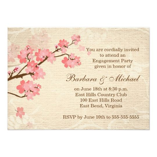 cherry blossom engagement party invitation engagement party