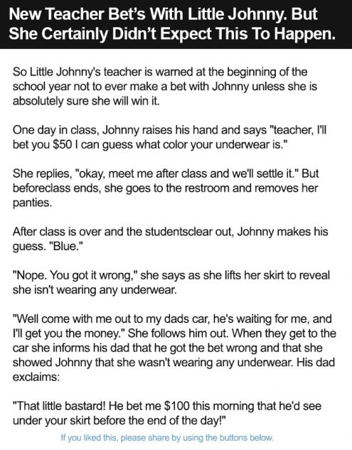 New Teacher Bet's With Little Johnny. But She Certainly