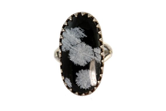 Sterling Silver Snowflake Obsidian Ring by Yourgreatfinds on Etsy, $59.99